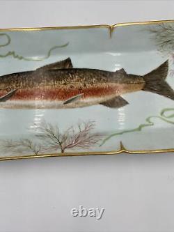 Antique Hand Painted Limoges Haviland Fish Platter Plate Gilt Porcelain