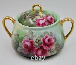 Antique Hand Painted Limoges Roses Biscuit Or Cookie Jar
