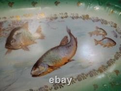Antique Hand Painted Porcelain Limoges Seafood Fish Platter 23 1/4
