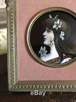 Antique Hand Painted Portrait Signed Art Nouveau Limoges