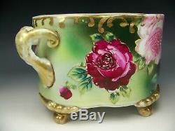 Antique Hand Painted Roses 10.5 Footed Ferner Vase