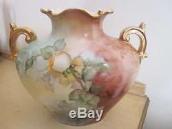Antique Hand Painted Roses Vase