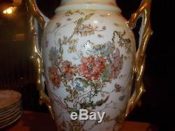 Antique Handpainted Elite LIMOGES 15.5 2-Handled Vase Floral withGold Accents
