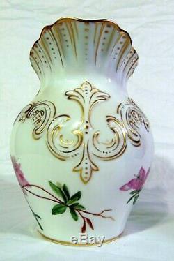 Antique Handpainted TV French Limoges Pitcher Tressemanes & Vogt Pink Flowers
