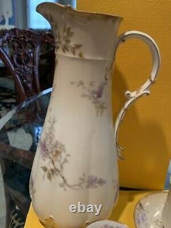 Antique Haviland Limoges France Hand Painted Chocolate Set Gold Trim 1884-1908