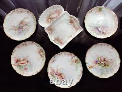 Antique Haviland Limoges Hand Painted Oyster Sea Shell Fish Plates Serving Dish