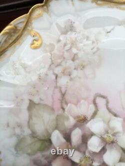 Antique Haviland Limoges rose flower 4 cabinet plates 9 gold trim hand painted