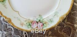 Antique Haviland Plates, Limoges, Hand Painted Yellow Roses, 1891-1934, 4 Plates