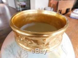 Antique JPL Jean Pouyat Limoges Hand Painted Vase & Stand-ROSES GOLD GILT-France