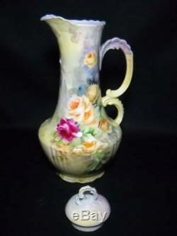 Antique JP Limoges France 12 Chocolate Pot Hand Painted Roses Gorgeous