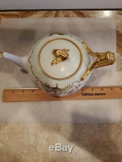 Antique J P L France Hand painted Limoges Gold Gilt Teapot