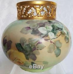 Antique J. P. L. Limoges France Hand Painted Roses Vase Gold Encrusted Stunning