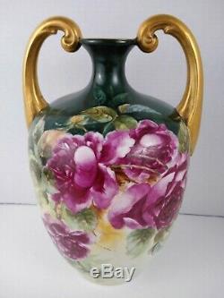 Antique (J. P. L.) Limoges France Hand Painted Vase 13 Beautiful Floral Flowers