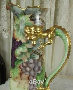 Antique J. P. L Limoges Hand Painted Tankard Grapes Gold Dragon Handle 15