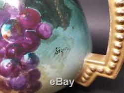 Antique J. P. L. Pouyat Limoges SIGNED SEGUR Hand Painted Lemonade Pitcher Grapes