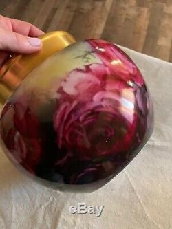 Antique Jardiniere Vase Handpainted Roses Signed Thomas Jorgensen, Calif