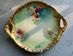 Antique Jean Pouyat J. P. L. France Limoges Hand Painted Rose Cake Platter Signed