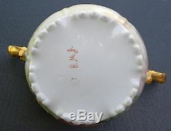 Antique Jean Pouyat Limoges France Cracker Jar Hand Painted & Artist Signed