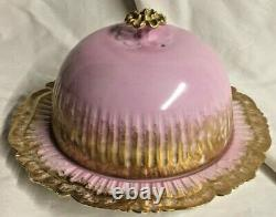 Antique Jean Pouyat Limoges Hand Painted Cheese Keep, Pink and Gold