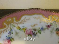 Antique Jullien Fils Ainé France Porcelain Handpainted Compote Tazza Pink Roses