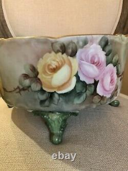 Antique LIMOGES D&C France Handpainted Footed CENTERPIECE Jardiniere Pink ROSES