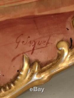 Antique LIMOGES FRANCE Hand-Painted Portrait Porcelain Charger Plate Plaque
