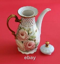 Antique LIMOGES Porcelain HandPainted Teapot & Sugar Bowl Roses Gold! Signed