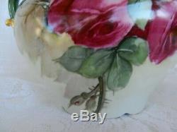 Antique LIMOGES Porcelain Handled VASE Hand Painted Hugh Roses Pouyat