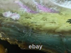 Antique Large Platter, Gold Trim, Limoges, France Hand Painted and Signed Bird