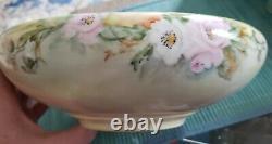 Antique Large T & V Limoges Hand Painted Center Or Fruit Bowl