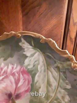Antique Limoge Ldbp Flambeau Hand Painted Artist Signed 11 Inch Plate