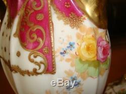 Antique Limoges B&h Hand Painted Chocolate Coffee Tea Pot, Roses & Gold, 10