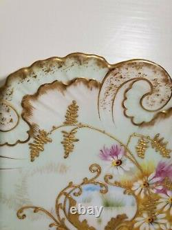 Antique Limoges Cabinet Plate Hand Painted Pink Gold encrusted