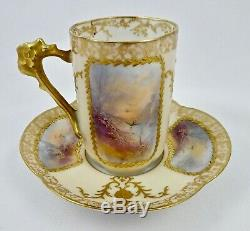 Antique Limoges Chocolate Cup & Saucer, Scenic, Hand Painted