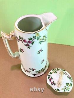Antique Limoges Chocolate Pot by Tressemanes Vogt, (T&V) Hand Painted Vintage