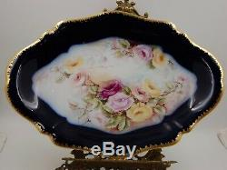 Antique Limoges Cobalt Roses Hand Painted Platter Plaque Tray. Rare 16