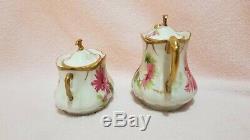 Antique Limoges Coronet Hand Painted Tea Pot & Sugar Bowl
