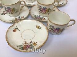 Antique Limoges Cups & Saucers X 10 GDA hand Painted Art Nouveau Haviland