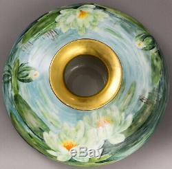Antique Limoges France 12 Hand Painted Water Lilies Squat Vase