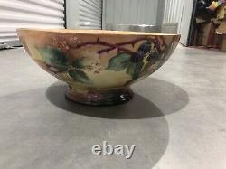 Antique Limoges France 16 Large Handpainted Fruits Bowl Centerpiece