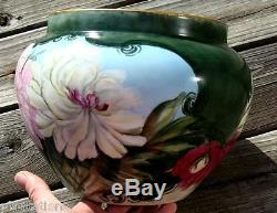 Antique Limoges France French Porcelain Handpainted Decorated Jardiniere Vase