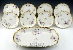Antique Limoges France HANDPAINTED & GOLD GILT CAKE PLATTER 8 DESSERT PLATES SET