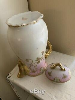 Antique Limoges France Hand Painted Chocolatecoffeetea Potgold & Pink 10