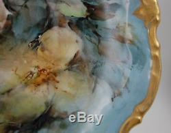 Antique Limoges France Hand Painted Floral Cake Plate Platter Tray
