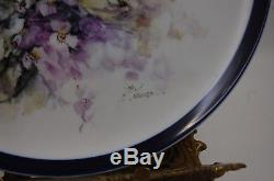 Antique Limoges France Hand Painted Game Bird Plaque Plate Platter Tray