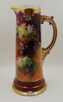Antique Limoges France Hand Painted Grapes Tankard Pitcher Vase. Wow