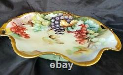 Antique Limoges France Hand Painted Grapes &gold Platter Signed E. R. Gorgeous