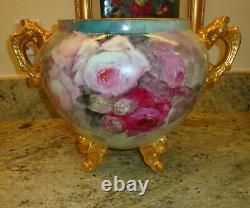Antique Limoges France Hand Painted Porcelain Jardiniere Roses