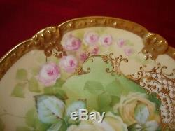 Antique Limoges France Hand Painted Signed Baumy Plate, Roses & Gold, 9