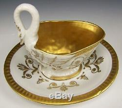Antique Limoges France Hand Painted Swan Tea Coffee Cup & Saucer